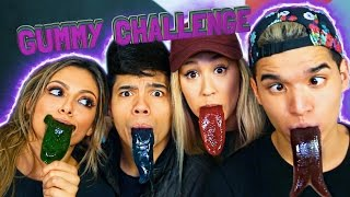 GUMMY TONGUE CHALLENGE! ft. LaurDIY D-Trix & Bethany Mota