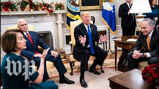 House Minority Leader Nancy Pelosi (D-Calif.) and Senate Minority Leader Charles E. Schumer (D-N.Y.) clashed Dec. 11 with President Trump over border security, during a meeting in the Oval Office. Subscribe to The Washington Post on YouTube: http://bit.ly/2qiJ4dy  Follow us: Twitter: https://twitter.com/washingtonpost Instagram: https://www.instagram.com/washingtonpost/ Facebook: https://www.facebook.com/washingtonpost/