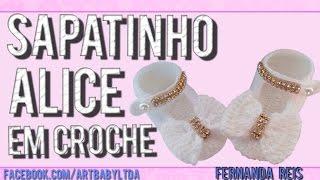 Sapatinho De Croche Alice - Passo A Passo - Professora Fernanda Reis