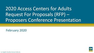 2020 Access Centers for Adults RFP: Proposers Conference