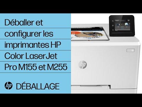Comment déballer et configurer les imprimantes des gammes HP Color LaserJet Pro M155 et M255