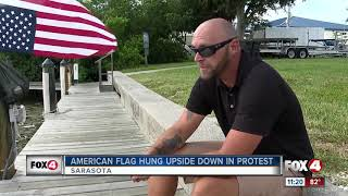 Veteran flies American flag upside down to signal distress for Florida waters