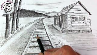 Como Dibujar Un Paisaje En Perspectiva De Un Punto Muy Facil Y Paso A Paso