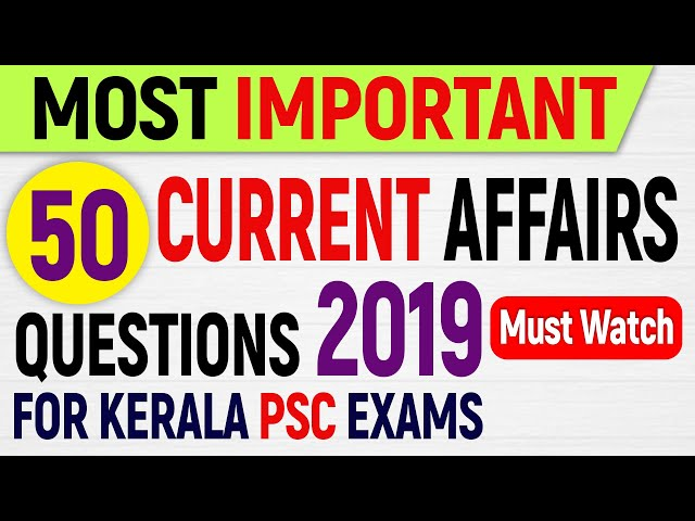 50 Important Current Affairs Questions