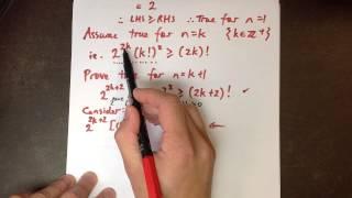 Induction Inequality Proof Example 6: [2^(2n)]*(n!)^2 ≥ (2n)!