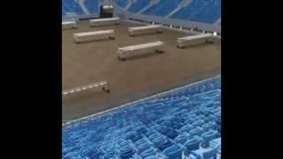 Полив газона на Зенит-Арене