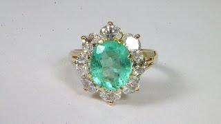 Illuminating! 4.21tcw Colombian Emerald & White Topaz Cocktail Ladies Ring 14k