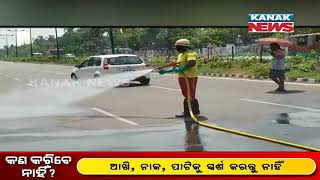 Bhubaneswar: Sanitation Work In Bapuji Nagar Area By Fire Department To Prevent Spread Of COVID-19