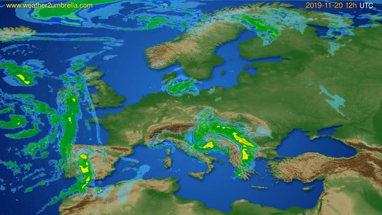 Radar forecast Europe // modelrun: 00h UTC 2019-11-20