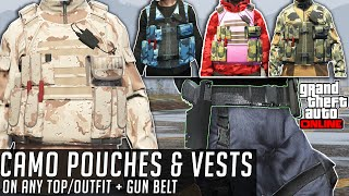 Get Camo/Colored Pouches, Vests & Cop Belt Any Top DIAMOND CASINO HEIST GTA Online GLITCH NOT MODDED
