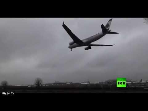 العرب اليوم - شاهد: طائرة لبنانية تتحدى الرياح العاتية في مطار هيثرو اللندني