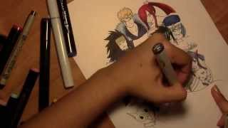 Drawing Fairy Tail Characters: Natsu, Lucy, Grey, Erza, Laxus, Happy, Juvia, Wendy, Carla, Gajeel
