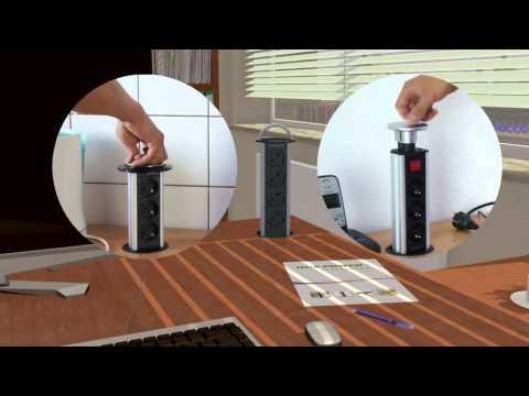 Versenkbare vertikale Tischsteckdose von Hux Power