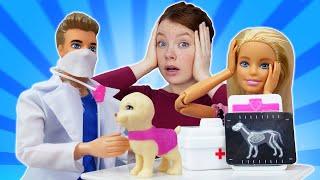 Spielspaß mit Barbie und Irene. Barbie und ihr Hund sind krank. Puppen Videos für Kinder