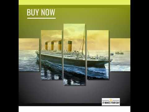 5 Piece Titanic Ship Seascape Movie Canvas Wall Art Paintings