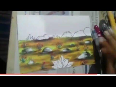 Contoh Gambar Cara Mewarnai Tanah Dengan Crayon Kataucap