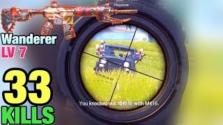 M416 WANDERER LV7 | ALL SQUADS RUSHED ME!! | SOLO VS SQUAD | PUBG MOBILE