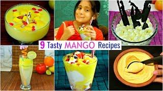 9 Tasty MANGO Dessert & Drinks Recipes | Summer Special | CookWithNisha