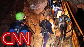 Four boys rescued from Thai cave, 8 boys and coach still trapped