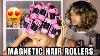 Magnetic Hair Roller Set On Natural Hair | Silky Soft Curls?