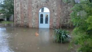 ძლიერი წვიმის შედეგად ლანჩხუთში სახლები და ნაკვეთები დაიტბორა