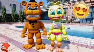 ADVENTURE FREDDY & TOY CHICA'S FIRST DATE! ANIMATRONIC DATE! (GTA 5 Mods For Kids FNAF RedHatter)