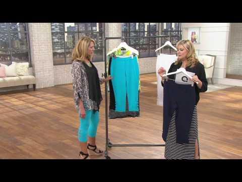 Susan Graver Weekend Stretch Cotton Spandex Capri Leggings with Cutouts on QVC