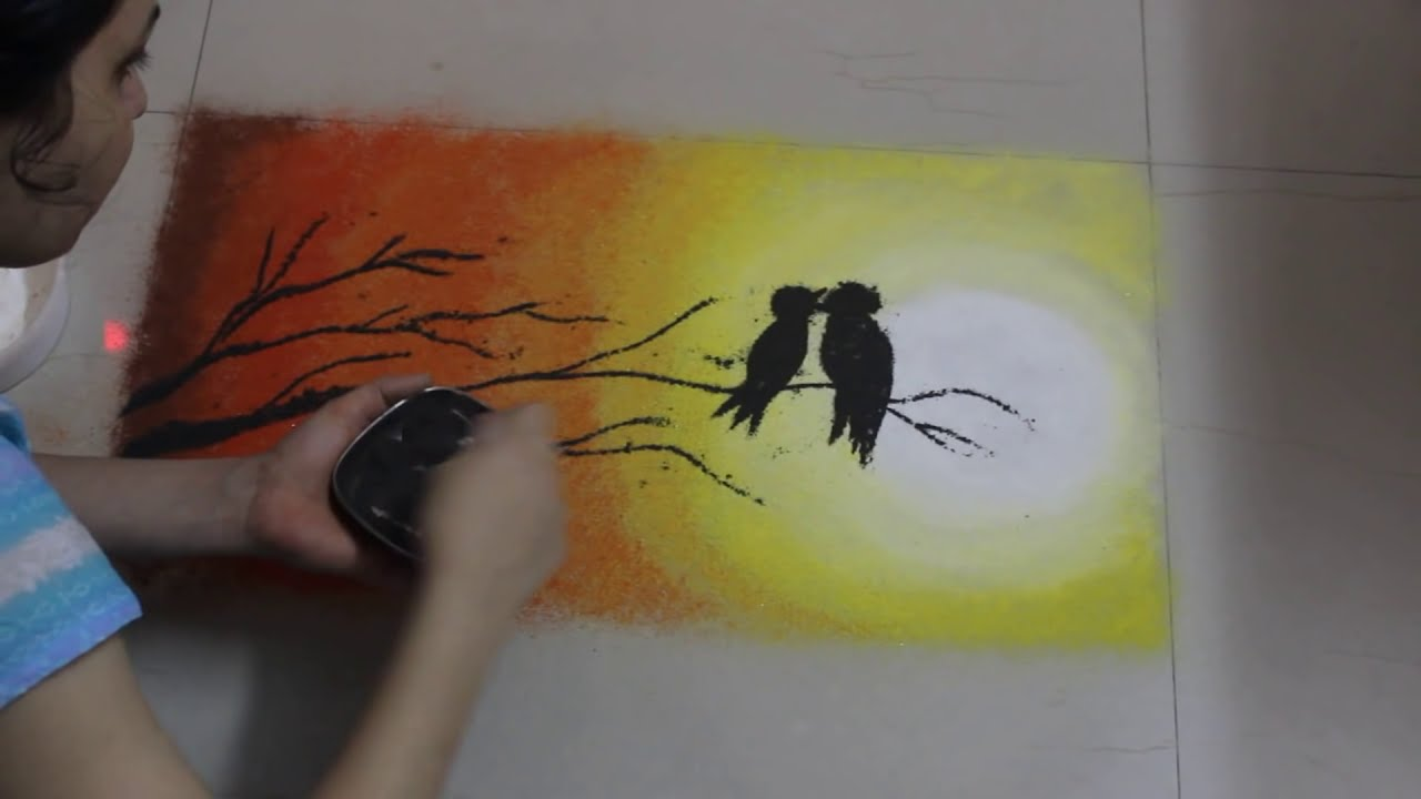 how to make scenery poster rangoli designs by shital