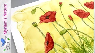 148] ALCOHOL INK Flowers ❣️ How To Paint Abstract POPPIES Without Fear