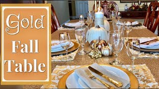 Gold And White Fall Tablescape | Fall Table Centerpiece Ideas