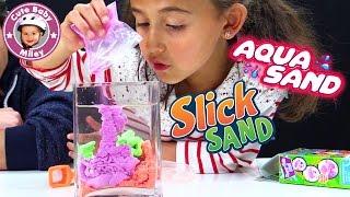 AQUA  SLICK SAND | Ist es Magischer Sand? Der Test im Wasser | Spielzeug für Kinder
