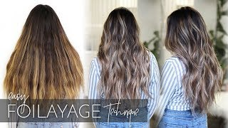 How to Balayage Dark, Long, and Thick Hair - Foilayage Hair Technique (NEW Method!)