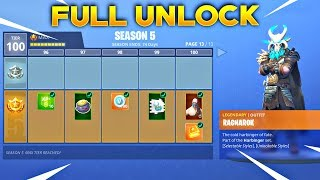 BUYING ALL 100 TIERS! Season 5 Battle Pass ALL ITEMS UNLOCKED! (Fortnite Battle Royale)
