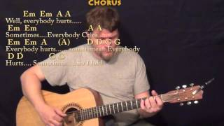 Everybody Hurts (R.E.M.) Fingerstyle Guitar Cover Lesson With ChordsLyrics
