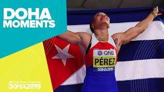 Die Kubanerin Yaime Perez gewinnt Diskus-Gold in Doha | Bildquelle: youtube.com © IAAF / YouTUbe | Bilder sind in der Regel urheberrechtlich geschützt