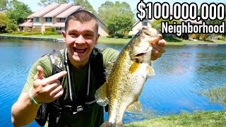 I CAUGHT GIANT BASS IN $100,000,000 NEIGHBORHOOD POND!