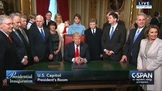 Donald Trump Hold First Chairman Of The Board Meeting As President Of The United States
