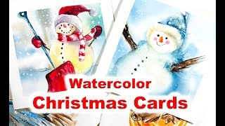 Painting Christmas Cards in Watercolor Snowman