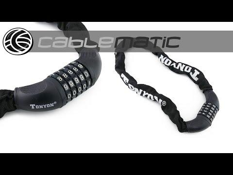 Cadena de acero con candado para bicicleta 22x900mm distribuido por CABLEMATIC ®