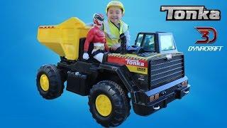 Unboxing Dynacraft Tonka Mighty Dump Truck Battery Powered Ride On Car Ckn Toys