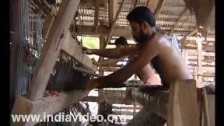 Weaving coir mats at Mohamma