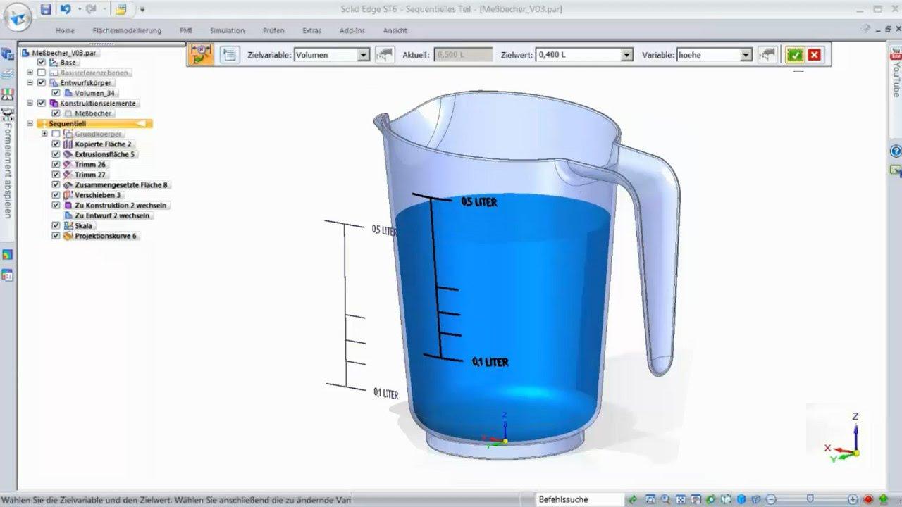 Vorschaubild: Solid Edge Tutorial: Volumenbestimmung anhand der Zielsuche