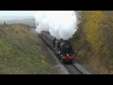 LMS 44871 & 45407 with 'The Welsh Marches' on the Malverns l…