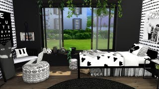The Sims 4: Speed Build // BLACK AND WHITE BEDROOM + CC Links