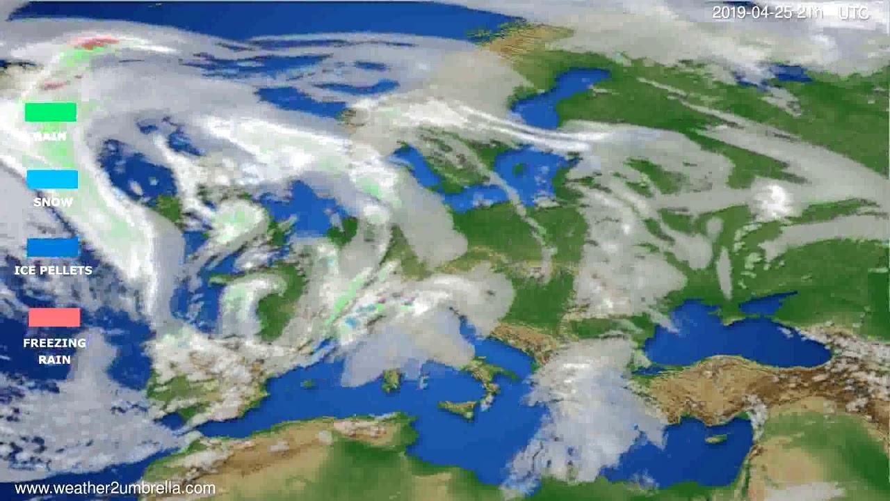 Precipitation forecast Europe // modelrun: 00h UTC 2019-04-24