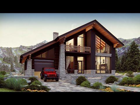 Дом в стиле ШАЛЕ. Проект двухэтажного дома с гаражом 199 кв.м.   SketchUp + Lumion 8