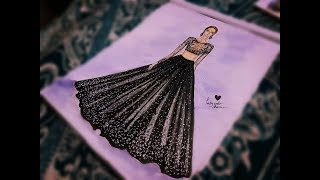 How To Draw Black Lehenga And Top Ii Simple Fashion Illustration Drawing