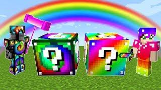 Minecraft: RAINBOW VS SPIRAL LUCKY BLOCK CHALLENGE!   Modded Mini Game
