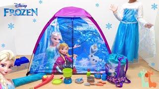 エルサ テントセット キャンプ ディズニープリンセス / Disney Frozen Elsa Pretend Play Camp Set : Play Tent