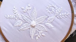 Hand embroidery Designs. White work Embroidery for New year.